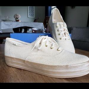 Keds Gold Ortholite Platform Canvas Sneakers